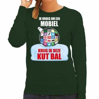 Kut kerstbal sweater / kerst verkleedkleding ik vroeg om een mobiel krijg ik deze kut bal groen voor dames