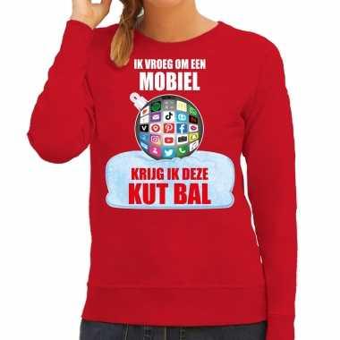 Kut kerstbal sweater / kerst verkleedkleding ik vroeg om een mobiel krijg ik deze kut bal rood voor dames