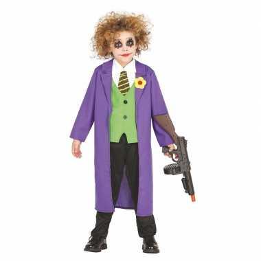 Luxe paarse horror clown joker verkleedkleding voor kinderen