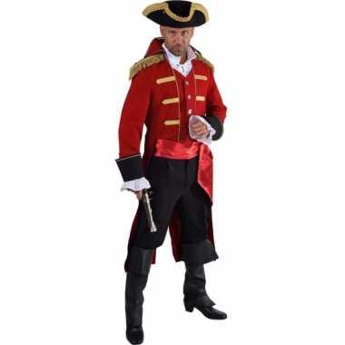 Luxe piraat verkleedkleding rood voor heren