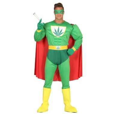 Marihuana man superheld verkleed verkleedkleding voor heren
