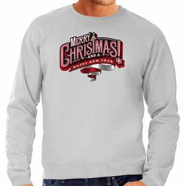 Merry christmas kerstsweater / kerst verkleedkleding grijs voor heren