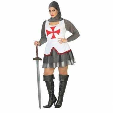 Middeleeuwse ridder verkleed verkleedkleding/jurk wit/rood voor dames