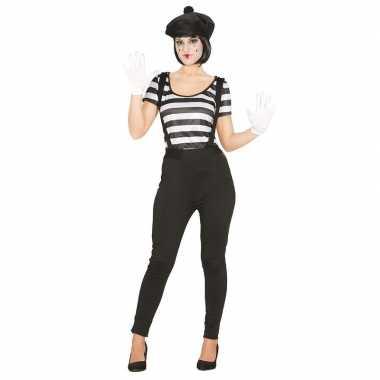 Mime speler/clown verkleedverkleedkleding voor dames