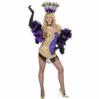 Moulin rouge verkleedkleding goud paars