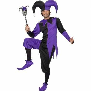 Narrenverkleedkleding zwart/paars voor heren