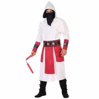Ninja vechter verkleed verkleedkleding wit/rood voor heren