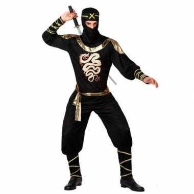 Ninja vechter verkleed verkleedkleding zwart/goud voor heren