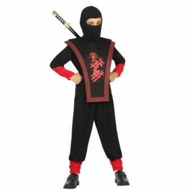 Ninja verkleed verkleedkleding zwart/rood voor jongens