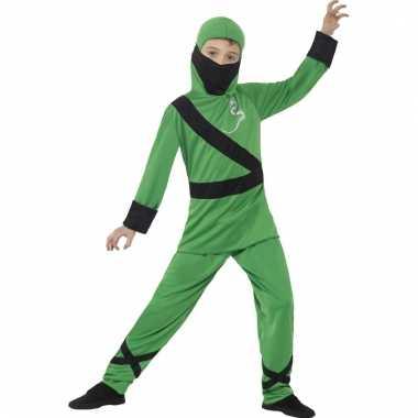 Ninja verkleedkleding groen/zwart voor kinderen