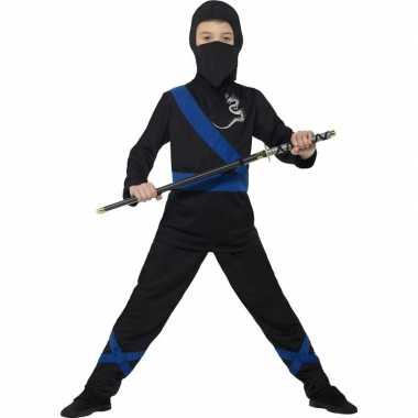 Ninja verkleedkleding zwart/blauw voor kinderen