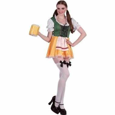 Oktoberfest groene/gele tiroler dirndl verkleed verkleedkleding/jurkj