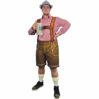 Oktoberfest lichtbruine tiroler lederhosen verkleed verkleedkleding/b
