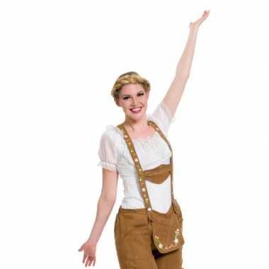 Oktoberfest witte tiroler blouse verkleed verkleedkleding top voor dames