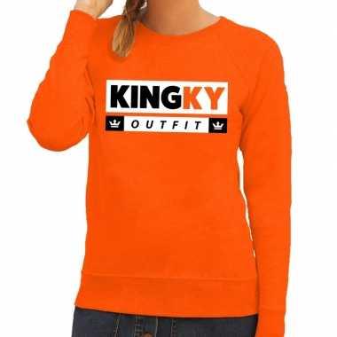 Oranje kingky verkleedkleding sweater voor dames