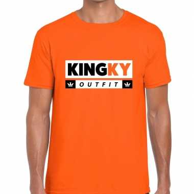 Oranje kingky verkleedkleding t-shirt voor heren