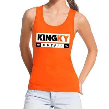 Oranje kingky verkleedkleding tanktop / mouwloos shirt voor dames
