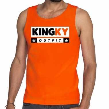 Oranje kingky verkleedkleding tanktop mouwloos shirt voor he