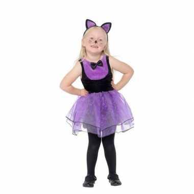 Paars/zwarte kat/poes verkleedkleding voor peuters