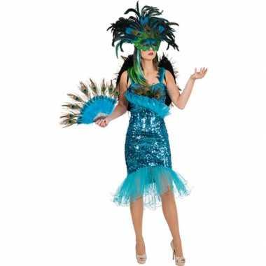 Pauwenveren glitterjurk verkleedkleding