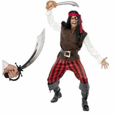 Piraten verkleedkleding met zwaard maat l voor volwassenen