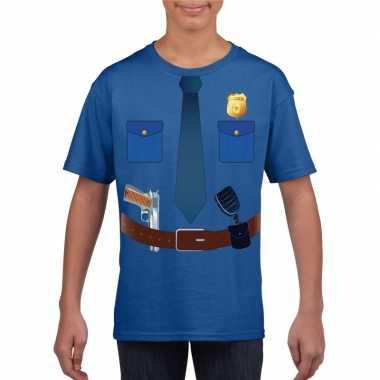 Politie uniform verkleedkleding t-shirt blauw voor kinderen
