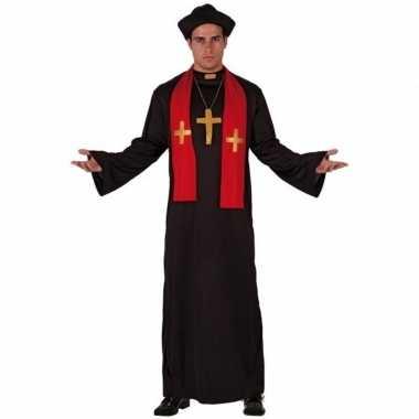 Priester verkleedkledings zwart met rood