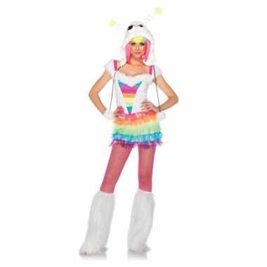 Regenboog gekleurd verkleedkleding voor dames