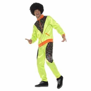 Retro trainingspak verkleedkleding neon groen