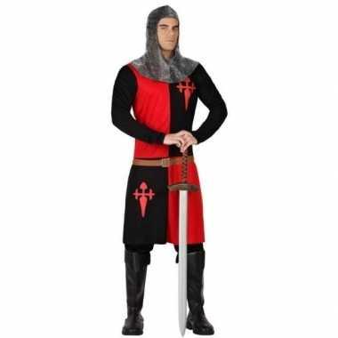 Ridder verkleed verkleedkleding zwart/rood voor heren