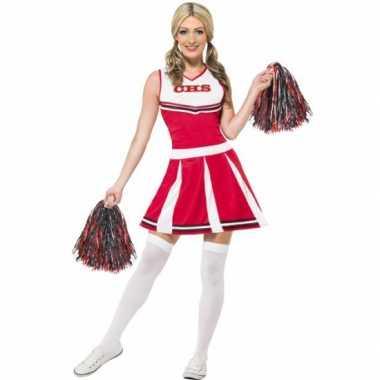 Rode cheerleader verkleedkleding dames