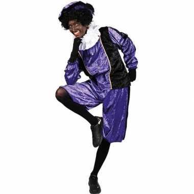 Roetveeg pieten verkleedkleding paars/zwart voor volwassenen