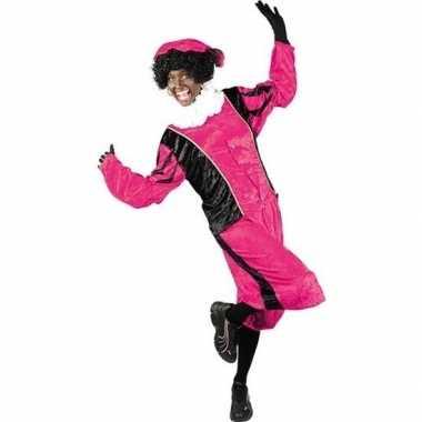 Roetveeg pieten verkleedkleding roze/zwart voor volwassenen