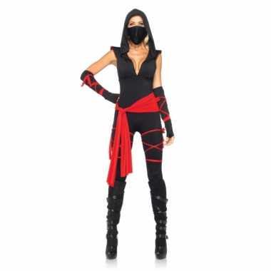 Rood met zwart ninja verkleedkleding voor dames
