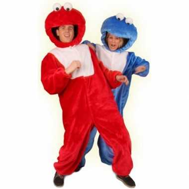 Rood pluche monster verkleedkleding