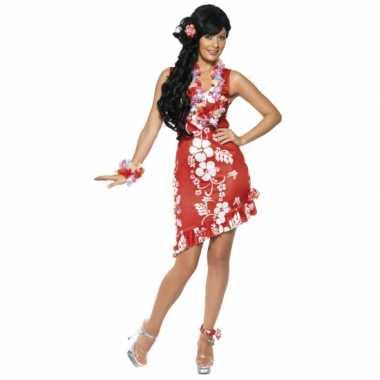 Rood/wit hawaii verkleed verkleedkleding/jurkje met accessoires dames