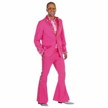 Roze glitter verkleedkleding heren