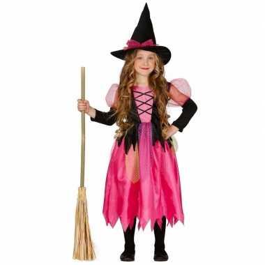 Roze heks verkleedkleding shiny witch voor kinderen