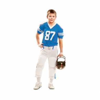 Rugby verkleedkleding wit met blauw voor kinderen
