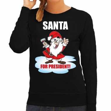 Santa for president kerst sweater / kerst verkleedkleding zwart voor dames