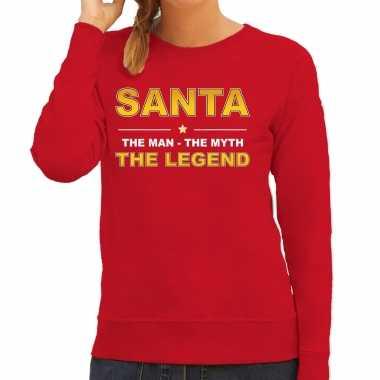 Santa sweater / verkleedkleding / the man / the myth / the legend rood voor dames