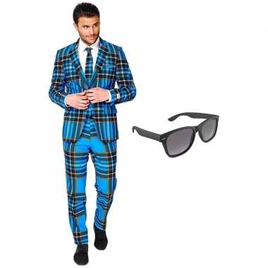 Schotse print heren verkleedkleding maat 54 (xxl) met gratis zonnebri