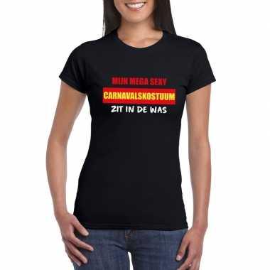 Sexy carnavalsverkleedkleding zit in de was dames t-shirt zwart