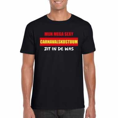 Sexy carnavalsverkleedkleding zit in de was heren t-shirt zwart