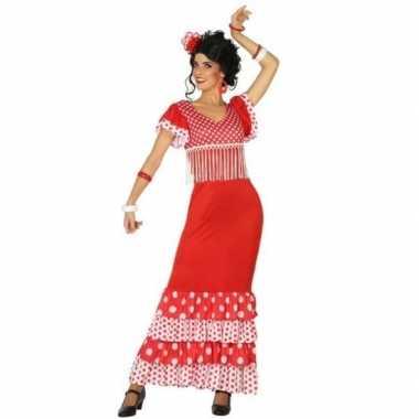 Spaanse flamencodanseres jurk rood verkleed verkleedkleding voor dame