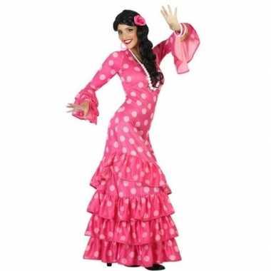 Spaanse flamencodanseres jurk roze verkleed verkleedkleding voor dame