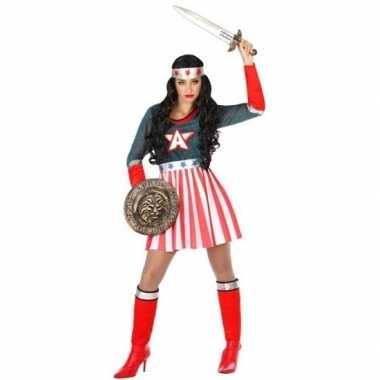 Superheld amerikaanse kapitein verkleed pak/verkleedkleding voor dame