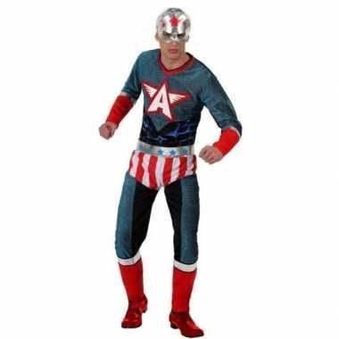 Superheld amerikaanse kapitein verkleed pak/verkleedkleding voor here