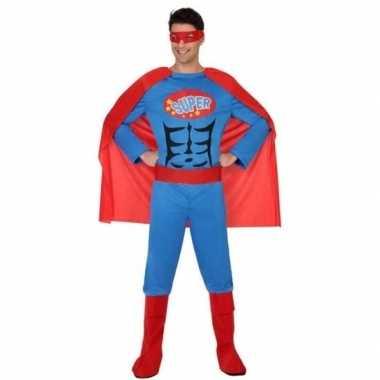 Superheld verkleed pak/verkleedkleding blauw/rood voor heren