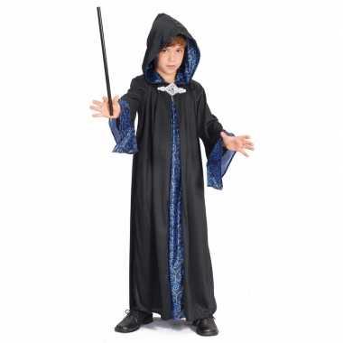 Tovenaar kinder verkleedkleding zwart/blauw